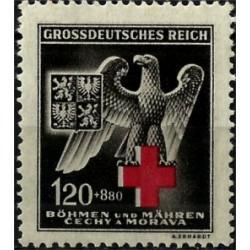 (B21) Bohemia y Moravia (Ocupación Alemana). 1943. 1,20 + 8,80 Koruna. Cruz Roja Germana (Nuevo)