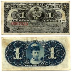 Billete de 1 Peso de 1896 (MBC-) Manchas