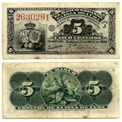 Billete de 5 Centavos de 1896 (MBC-) Pequeñas manchas