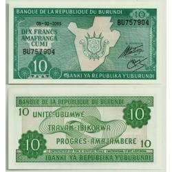 (33e) Burundi. 2005. 10 Francs (SC)