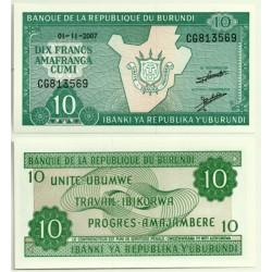(33e) Burundi. 2007. 10 Francs (SC)