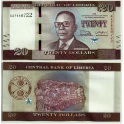 (33) Liberia. 2016. 20 Dollars (SC)