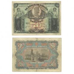 Billete de 50 Pesetas de 1907 (RC). Sin Serie.