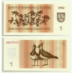 (39) Lituania. 1992. 1 Talonas (SC)