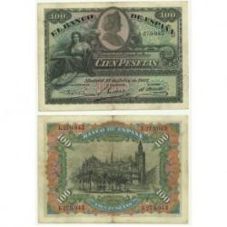 Billete de 100 Pesetas de 1907 (MBC). Sin serie.