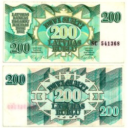 (41) Letonia. 1992. 200 Rublu (EBC)