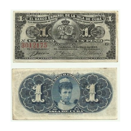 Billete de 1 Peso de 1896 (MBC).