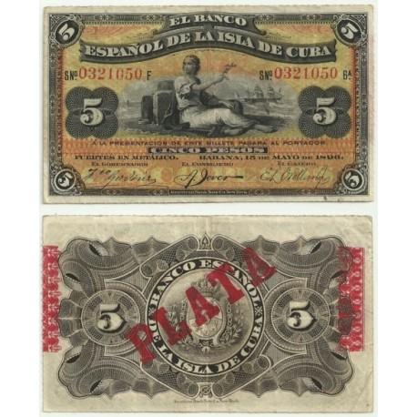 Billete de 5 Pesos de 1896 (MBC).