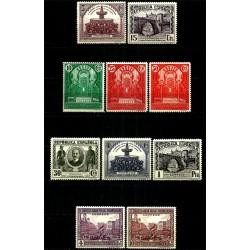 (604 a 613) 1931. Serie Completa. III Congreso  U.P.  Panamerica (Nuevo, con marcas de fijasellos)