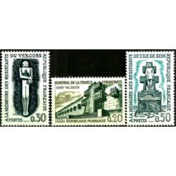 (1029 a 1031) Franca. 1962. Serie Completa. Monumentos WWII (Nuevo)