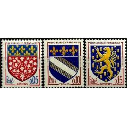 (1040 a 1042) Francia. 1962-63. Serie Completa. Escudos de Armas (Nuevo)