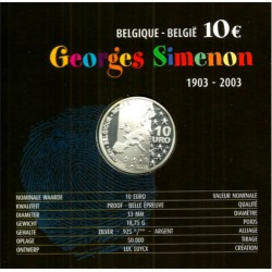 Bélgica. 2003. 10 Euro (Proof) (Plata) Georges Simenon