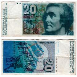 (55) Suiza. 1978-80. 20 Francs (BC)