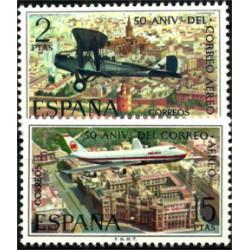 (2059-2060) 1971. Serie Completa. L Aniversario Correo Aéreo (Nuevo)