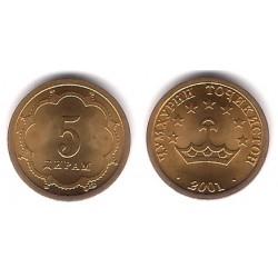 (2.1) Tayikistán. 2001. 5 Drams (SC)