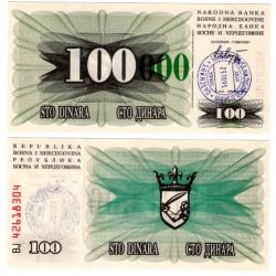 (56g) Bosnia-Herzegovina. 1993. 100000 Dinara (SC) Sarajevo