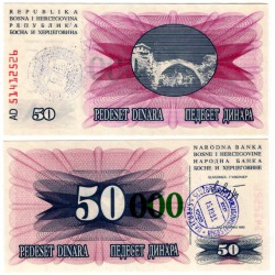 (55e) Bosnia-Hercegovina. 1993. 50000 Dinara (SC) Sarajevo