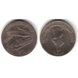 (318) República Tunecina. 1990. ½ Dinar (BC)