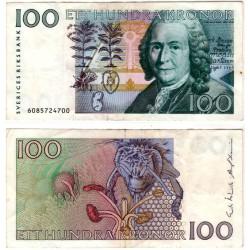 (57a) Suecia. 1986. 100 Kronor (MBC) Pequeña mancha