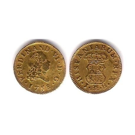 Fernando VI. 1758.  ½ Escudo (MBC) Ceca de Madrid JB (Oro)