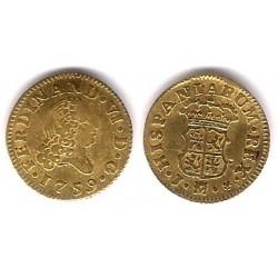 Fernando VI. 1759.  ½ Escudo (MBC) Ceca de Madrid J (Oro)