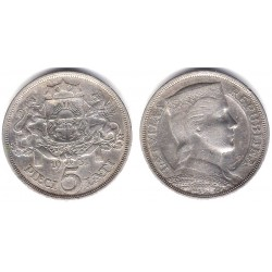 (9)  Letonia. 1931. 5 Lati (EBC) (Plata)