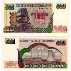 (11a) Zimbabue. 2001. 500 Dollars (SC)