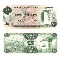 (22f) Guyana. 1966-92. 5 Dollars (SC)