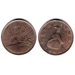 (5) Zimbabue. 1990. 50 Cents (MBC-)
