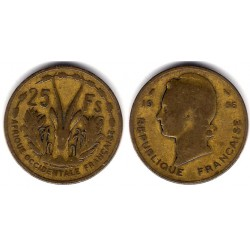 (7) Africa Occidental Francesa. 1956. 25 Francs (MBC-)