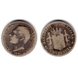Alfonso XII. 1882*(-----). 1 Peseta (BC-) (Plata) Ceca de Madrid MS-M