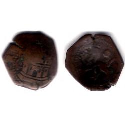 Felipe II. Sin Fecha. 2 Cuartos (BC-) Ceca de Cuenca CI. Resello