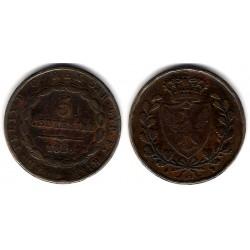 (C100) Estados Italianos. Sardinia. 1826. 5 Centesimi (BC+)