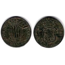 Isabel II. 1839. 3 Cuartos (MBC) Ceca de Cataluña. Defecto de acuñación