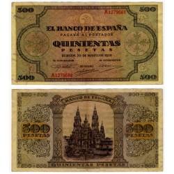 Estado Español. 1938. 500 Pesetas (EBC-) Serie A