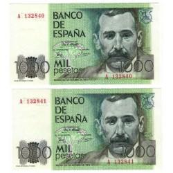 España. 1979. 1000 Pesetas (x2) (SC) Pareja Correlativa