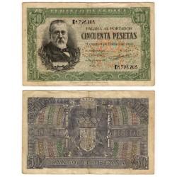 Estado Español. 1940. 50 Pesetas (BC+) Serie D