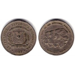 (61.2) República Dominicana. 1987. 25 Centavos (MBC-)