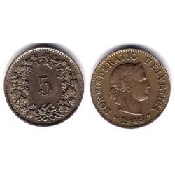 (26) Suiza. 1943(B). 5 Rappen (MBC)