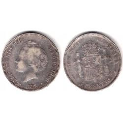 Alfonso XIII. 1892*(18-92). 5 Pesetas (BC) Ceca de Madrid PG-M. Variante