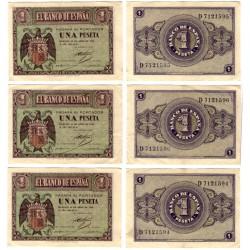 Estado Español. 1938. 1 Peseta (x3) (MBC) Serie D. Trio