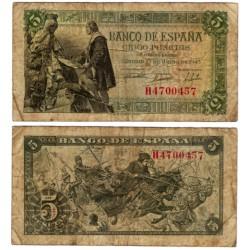 Estado Español. 1945. 5 Pesetas (BC) Serie H