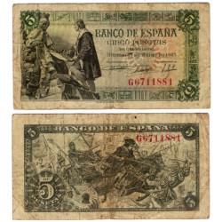 Estado Español. 1945. 5 Pesetas (BC) Serie G