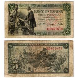 Estado Español. 1945. 5 Pesetas (BC) Serie E. Pequeñas roturas