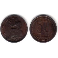 España (II República). 1937*(--6). 50 Céntimos (MBC+)