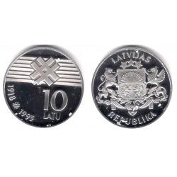 (19) Letonia. 1993. 10 Latu (Proof) (Plata)