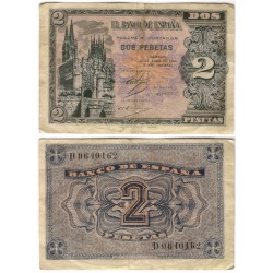Estado Español. 1938. 2 Pesetas (BC+) Serie D