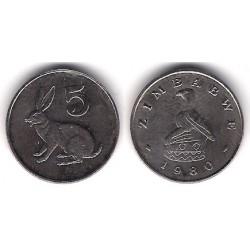 (2) Zimbabue. 1980. 5 Cents (MBC)