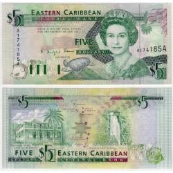 (26a) Estados Orientales Caribeños. 1993. 5 Dollars (SC) ANTIGUA