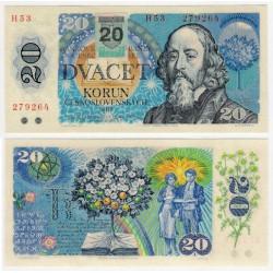 (15) Eslovaquia. 1993. 20 Korun (SC) Sello Adhesivo